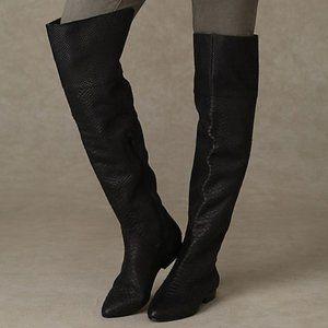 Free People x Kelsi Dagger Snakeskin Knee Boots